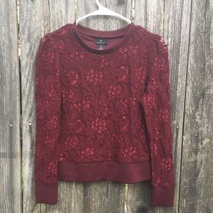 Worthington Wine Lace Long Sleeve Blouse
